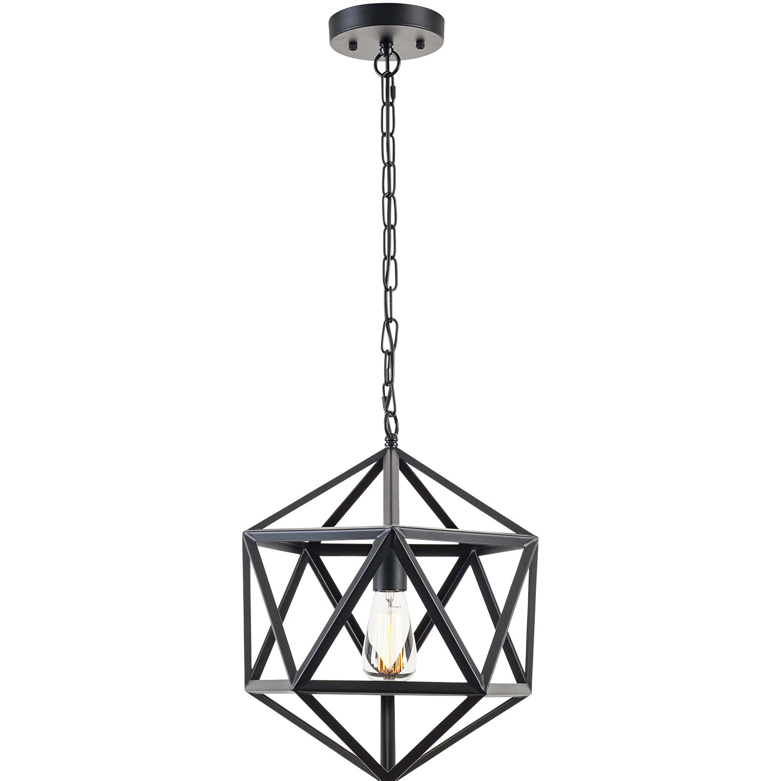 1 Light Lantern Geometric Pendant Within Delon 1 Light Lantern Geometric Pendants (Photo 13 of 30)