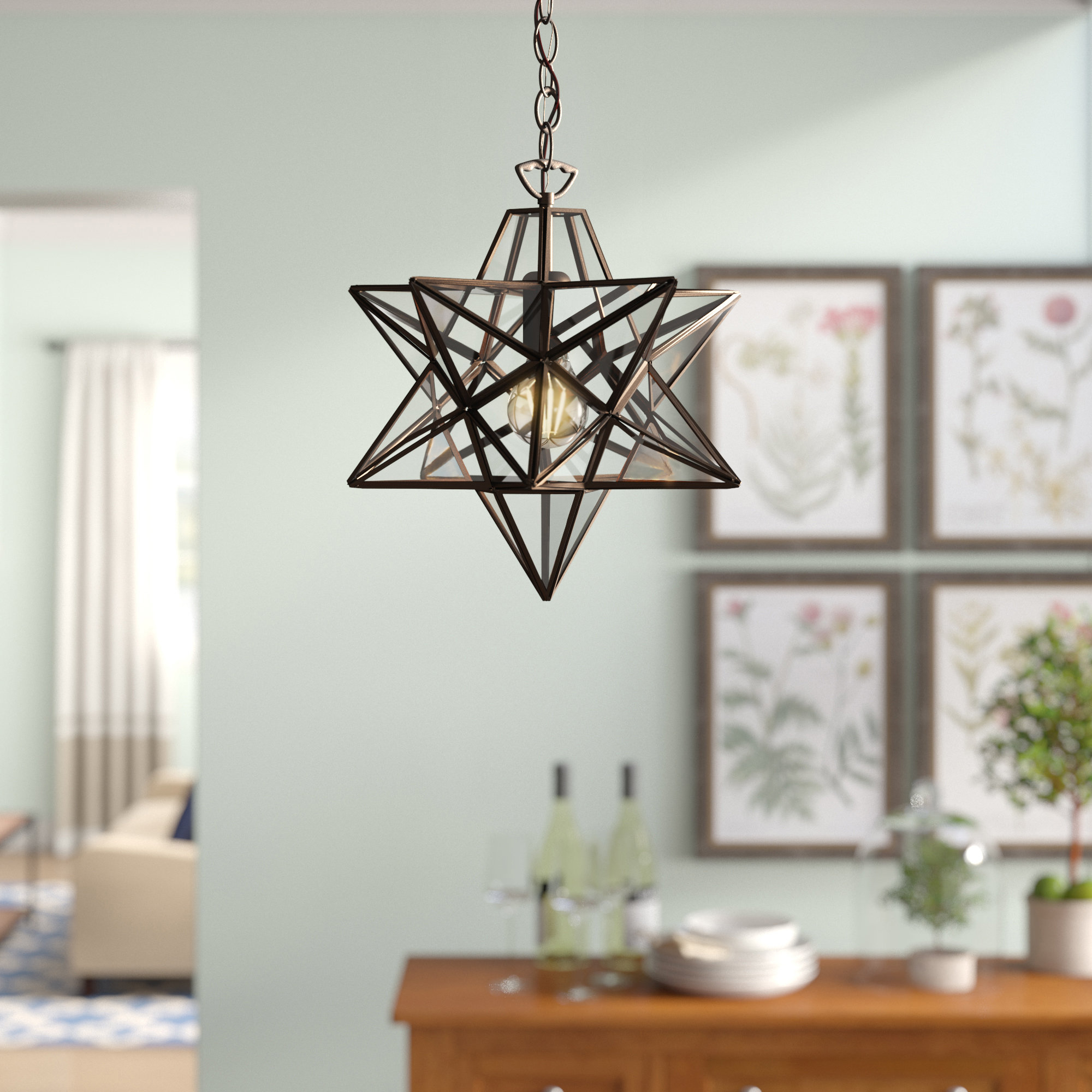 1-Light Single Star Pendant for 1-Light Single Star Pendants (Image 1 of 30)