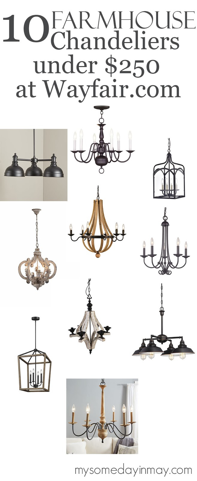 10 Farmhouse Chandeliers Under $250 – My Someday In May Inside Alayna 4 Light Shaded Chandeliers (Image 1 of 30)