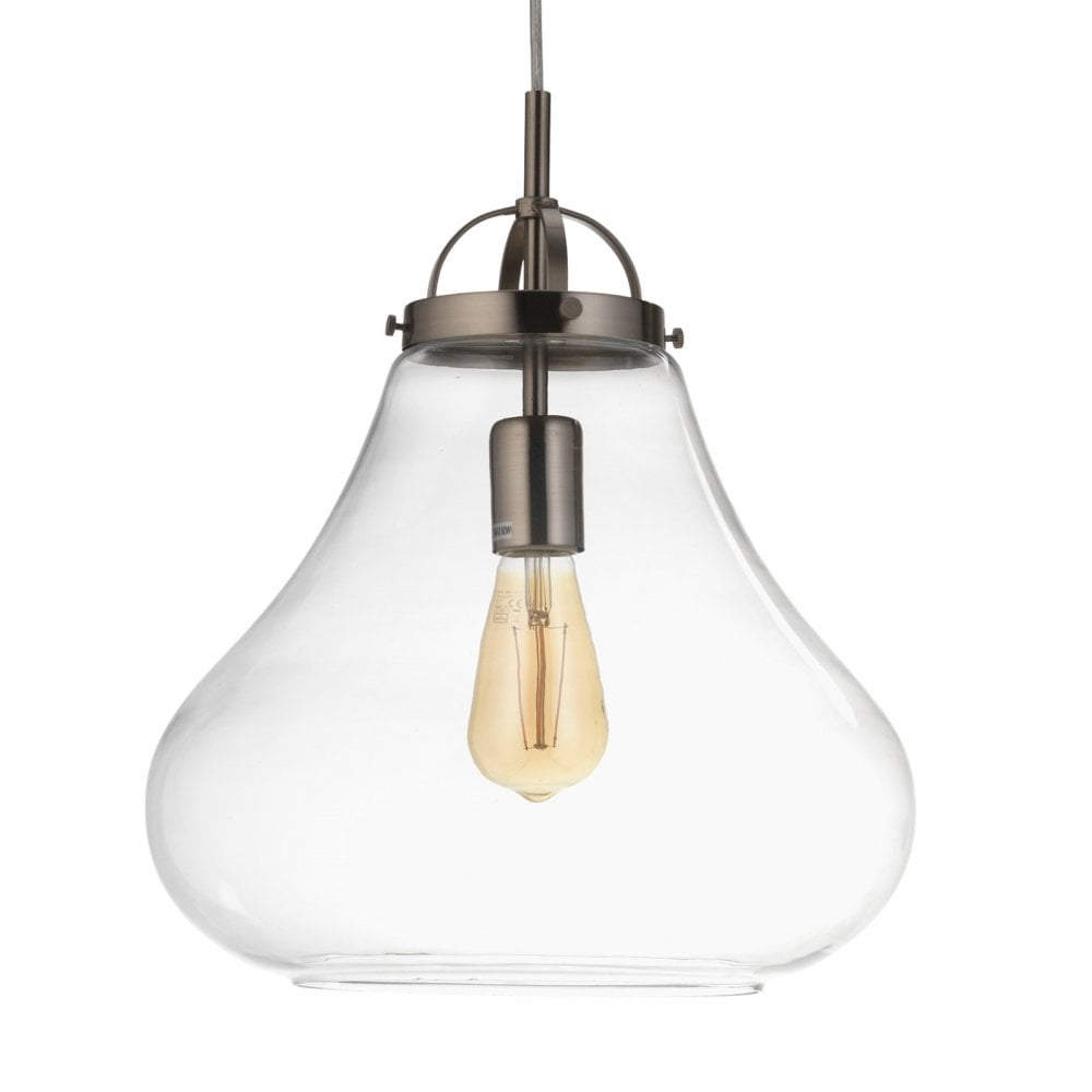 1009/1 Ac Turua Single Light Ceiling Pendant In Antique Chrome Finish With  Clear Glass Shade Within Terry 1 Light Single Bell Pendants (Gallery 13 of 30)
