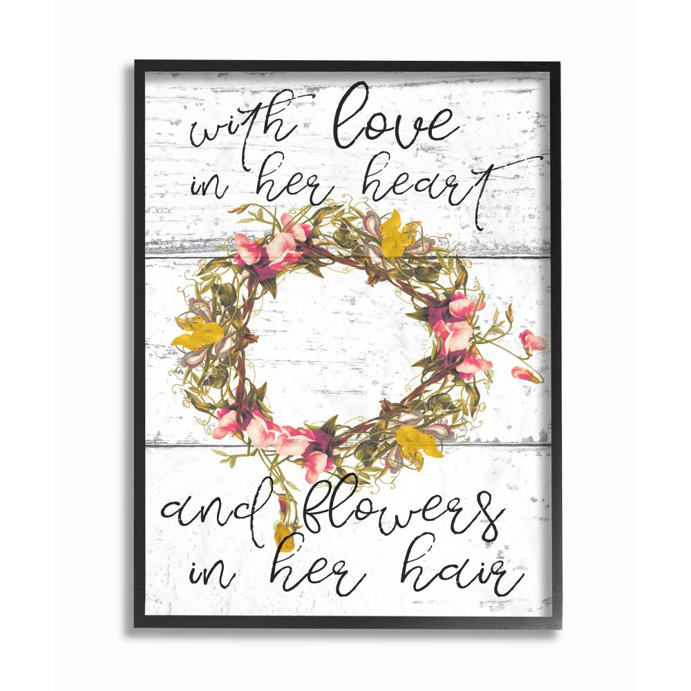 """11 In. X 14 In. """"love In Her Heart Flowers In Her Hair Flower Crown"""" Daphne Polselli Wood Framed Wall Art inside Floral Wreath Wood Framed Wall Decor (Image 1 of 30)"""