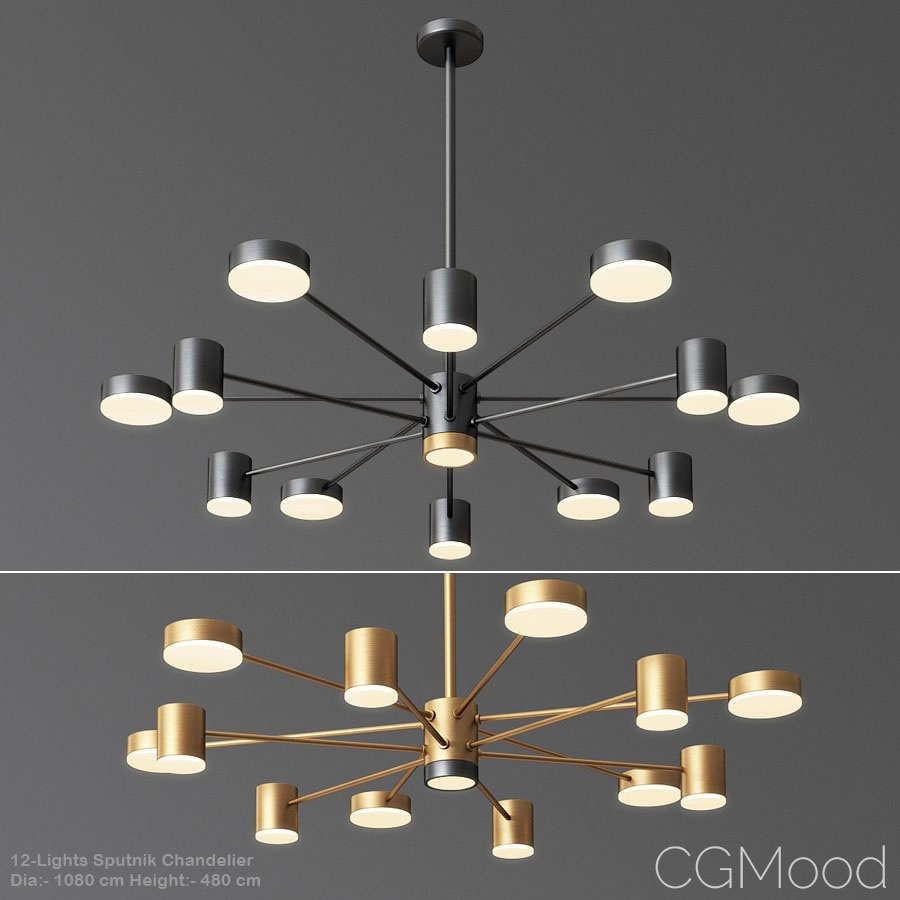12 Lights Sputnik Chandelier – 3d Model For Vray, Corona With Corona 12 Light Sputnik Chandeliers (View 6 of 30)