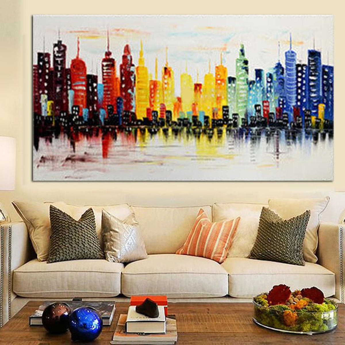 120X60Cm Modern City Canvas Abstract Painting Print Living Room Art Wall  Decor No Frame Paper Art In Abstract Bar And Panel Wall Decor (Image 2 of 30)