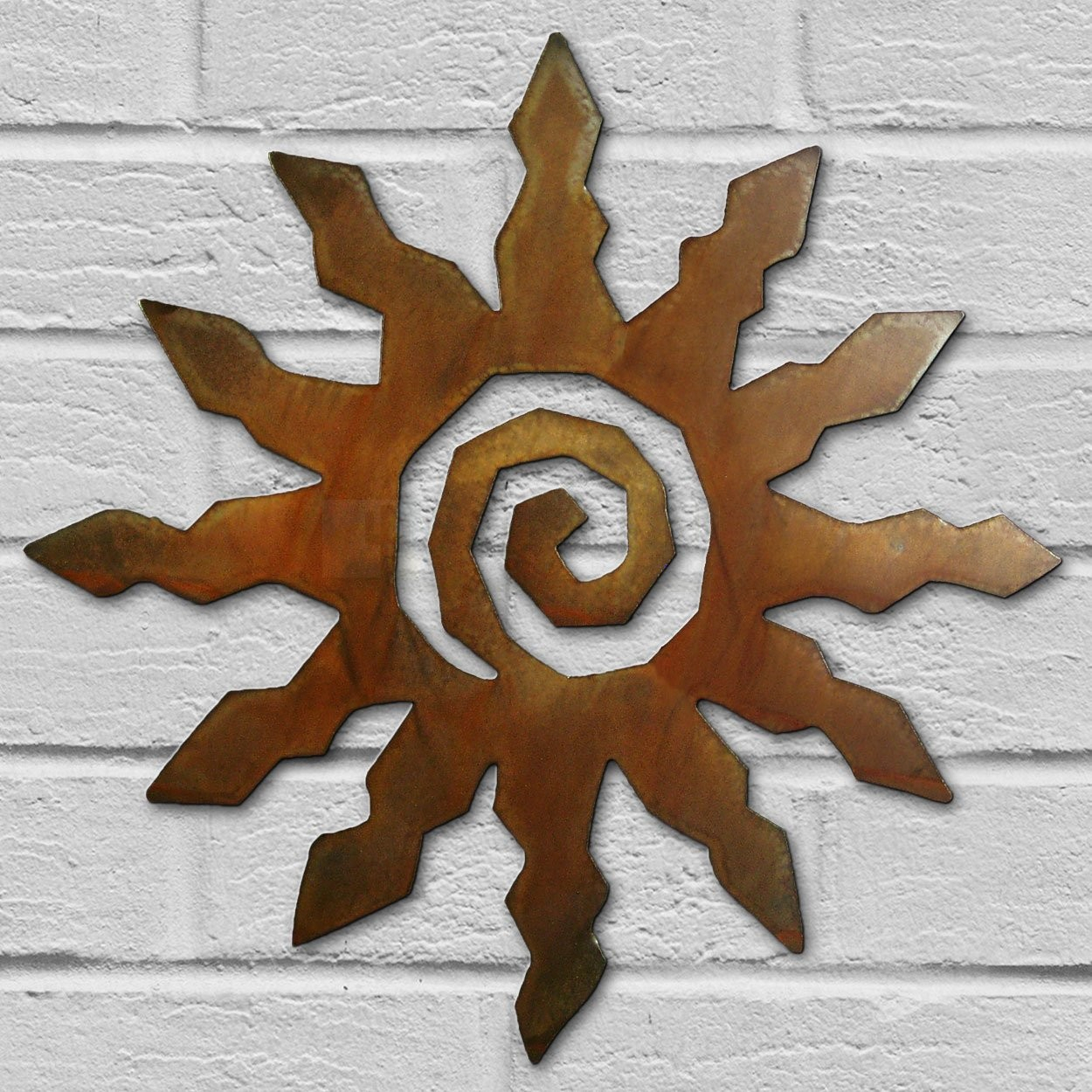 12In Small 12 Ray Spiral Sun 3D Metal Wall Art In Rust Finish   Southwest  Decor Pertaining To Brown Metal Tribal Arrow Wall Decor (Photo 29 of 30)
