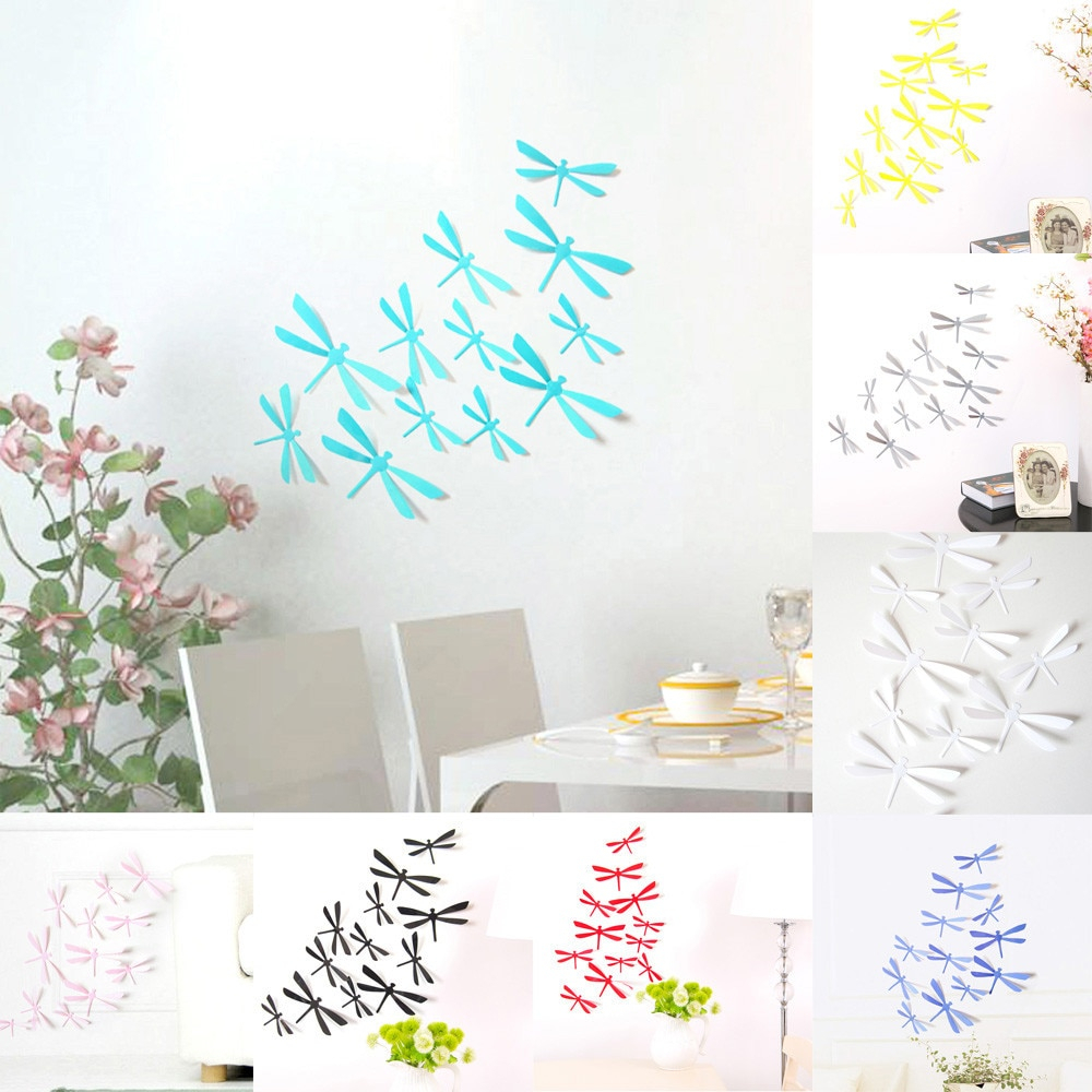 12Pcs 3D Dragonfly Wall Stickers Diy Decor Home Party Wall Stickers Pvc Art  Decal For Living Room, Bedroom,toilet, Kids Room  In Wall Stickers From Intended For Dragonfly Wall Decor (Photo 22 of 30)