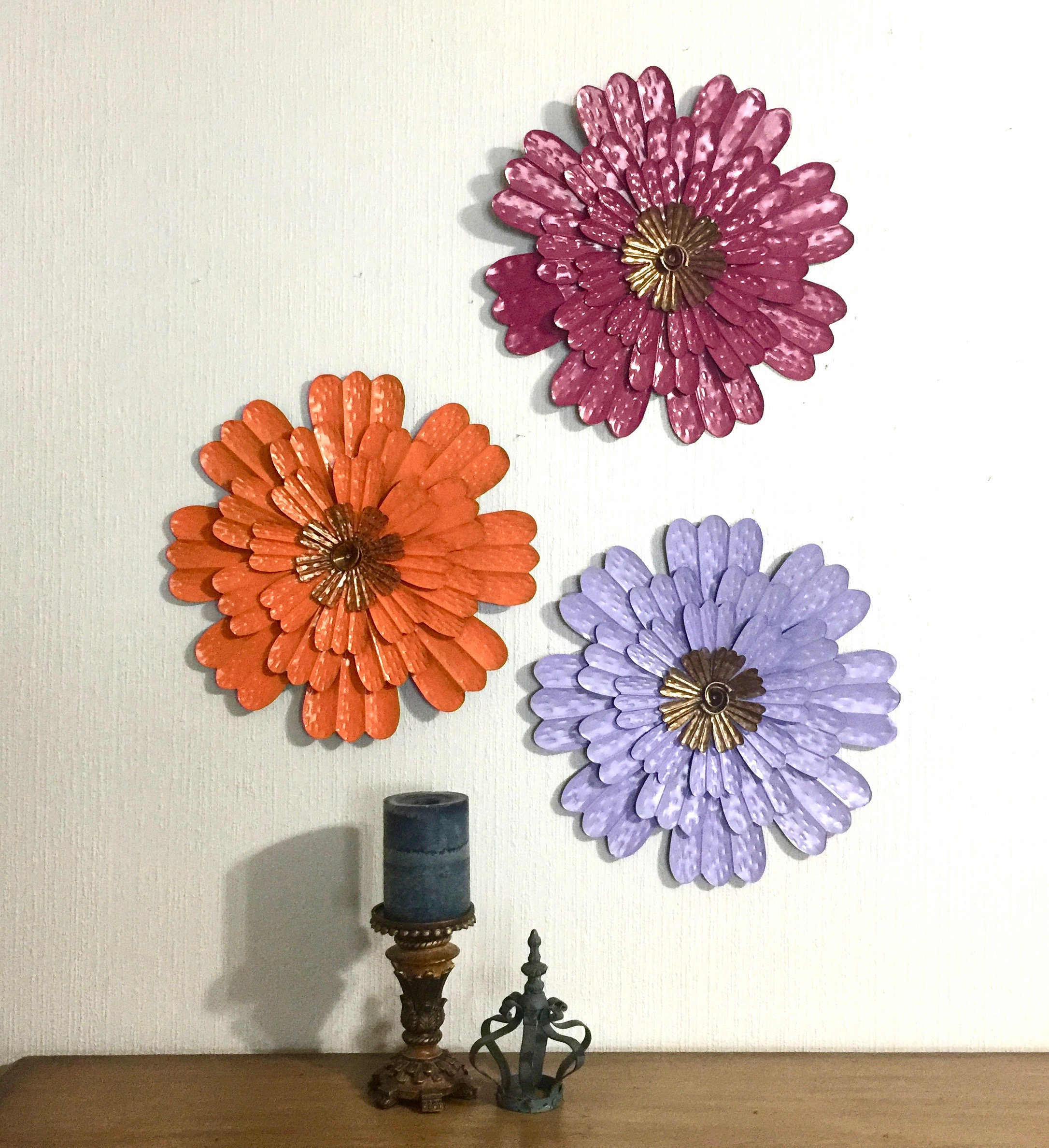 "14"" Metal Flower Wall Art Orange Lavender Boysenberry Set Of 3 – Metal Wall/fence Decor – Metal Yard Art – Patio Barn She Shed Decor With Regard To Metal Flower Wall Decor (Set Of 3) (View 22 of 30)"