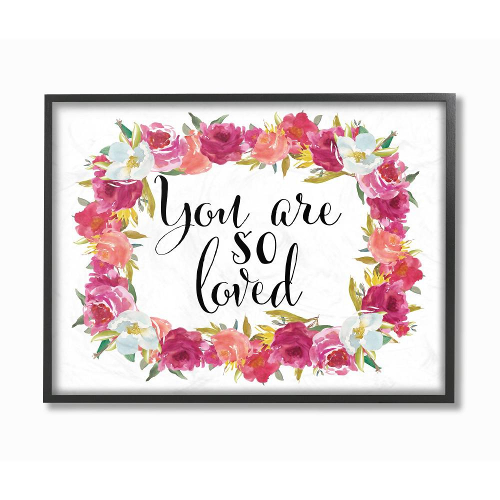 """16 In. X 20 In. """"you Are So Loved Floral Wreath""""tara Moss Printed  Framed Wall Art with Floral Wreath Wood Framed Wall Decor (Image 3 of 30)"""