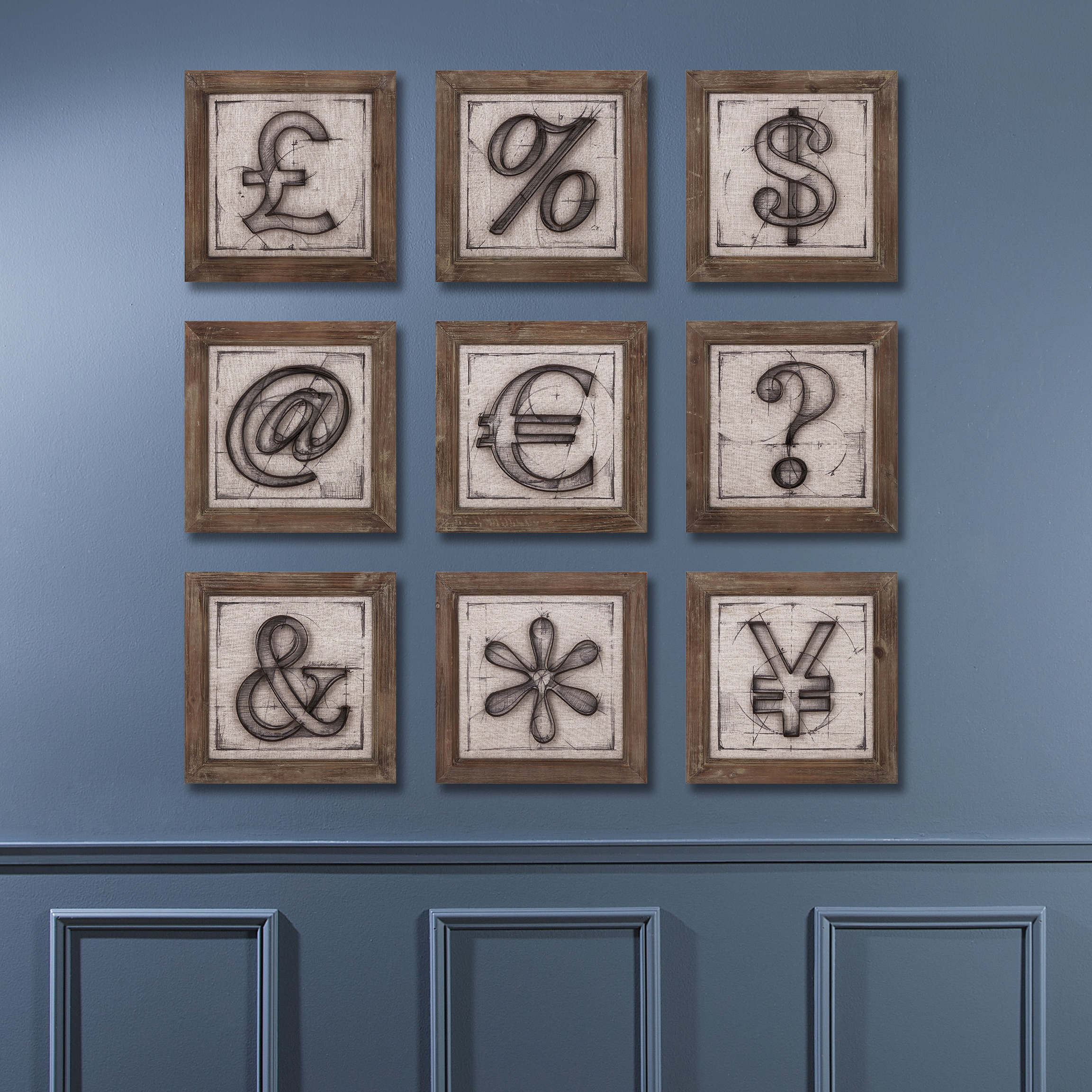17 Stories Symbols 9 Piece Wall Decor Within Mariposa 9 Piece Wall Decor (View 3 of 30)