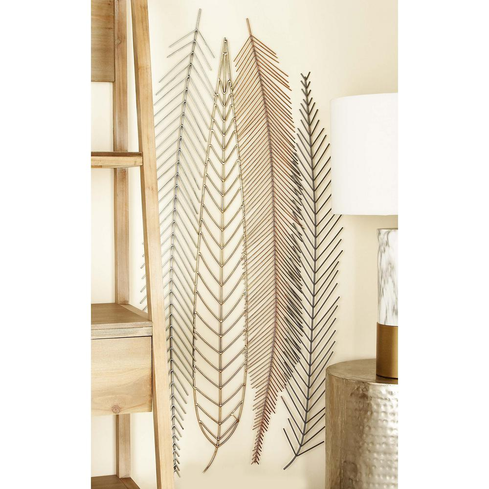18 In. X 48 In. Iron Wire Feather And Leaf Wall Decor In for Metal Wall Decor By Cosmoliving (Image 1 of 30)