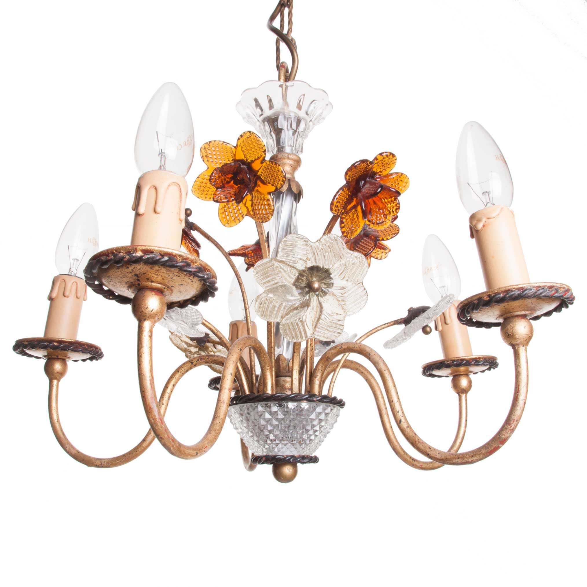 1940's Gold Plated Brass, Crystal And Molded Glass 5 Light Chandelier In Berger 5 Light Candle Style Chandeliers (View 24 of 30)