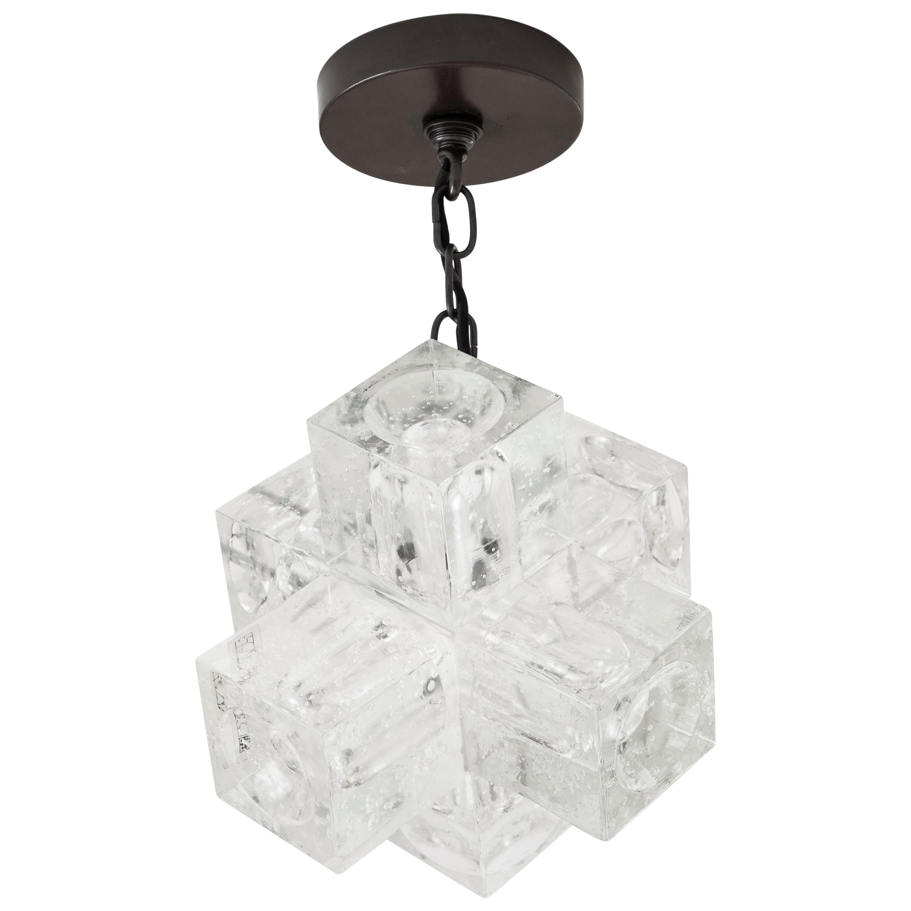 1960S Italian Glass Cube Chandelierpoliarte Throughout Albano 4 Light Crystal Chandeliers (Gallery 25 of 30)