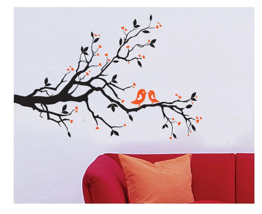 2 Cute Birds On The Tree Branch Wall Art Wall Sticker Decal Room Art Decal  Kissing Birds With Regard To Birds On A Branch Wall Decor (Photo 7 of 30)