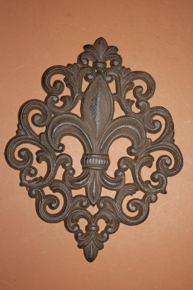 2) Fleur De Lis Wall Decor, Scroll Work Fleur De Lis Plaque, Vintage Look Elegant Fleur De Lis Wall Plaque, Free Shipping, F 10 Throughout 2 Piece Metal Wall Decor Sets By Fleur De Lis Living (Gallery 8 of 30)