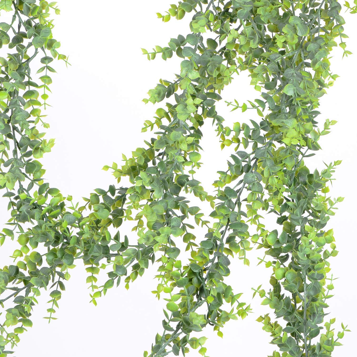 2 Pack Faux Eucalyptus Garland, Artificial Vines Fake Eucalyptus Greenery  Garland Wedding Backdrop Arch Wall Decor, 6 Feet/pcs Fake Hanging Plant For Intended For Three Flowers On Vine Wall Decor (Photo 30 of 30)