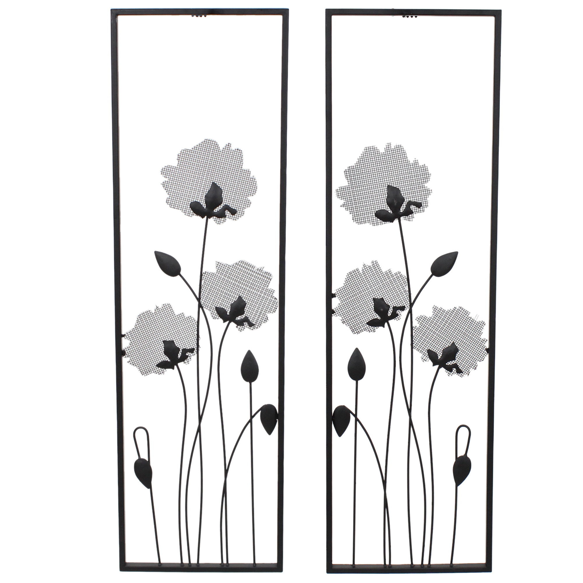2 Piece Black Flower Metal Wall Art Set Throughout 4 Piece Metal Wall Plaque Decor Sets (View 19 of 30)