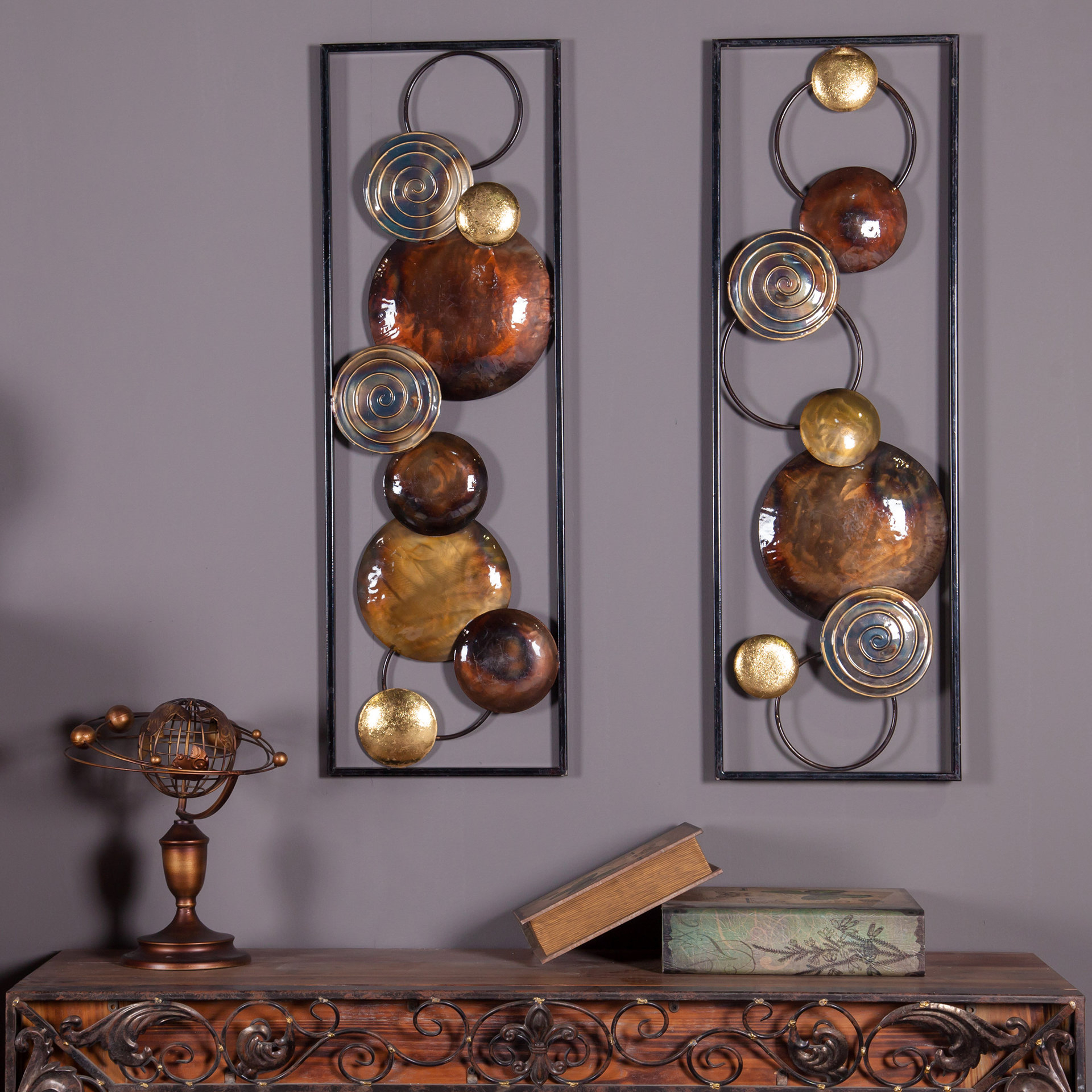 2 Piece Metal Wall Decor Set | Wayfair in 2 Piece Starburst Wall Decor Sets (Image 1 of 30)