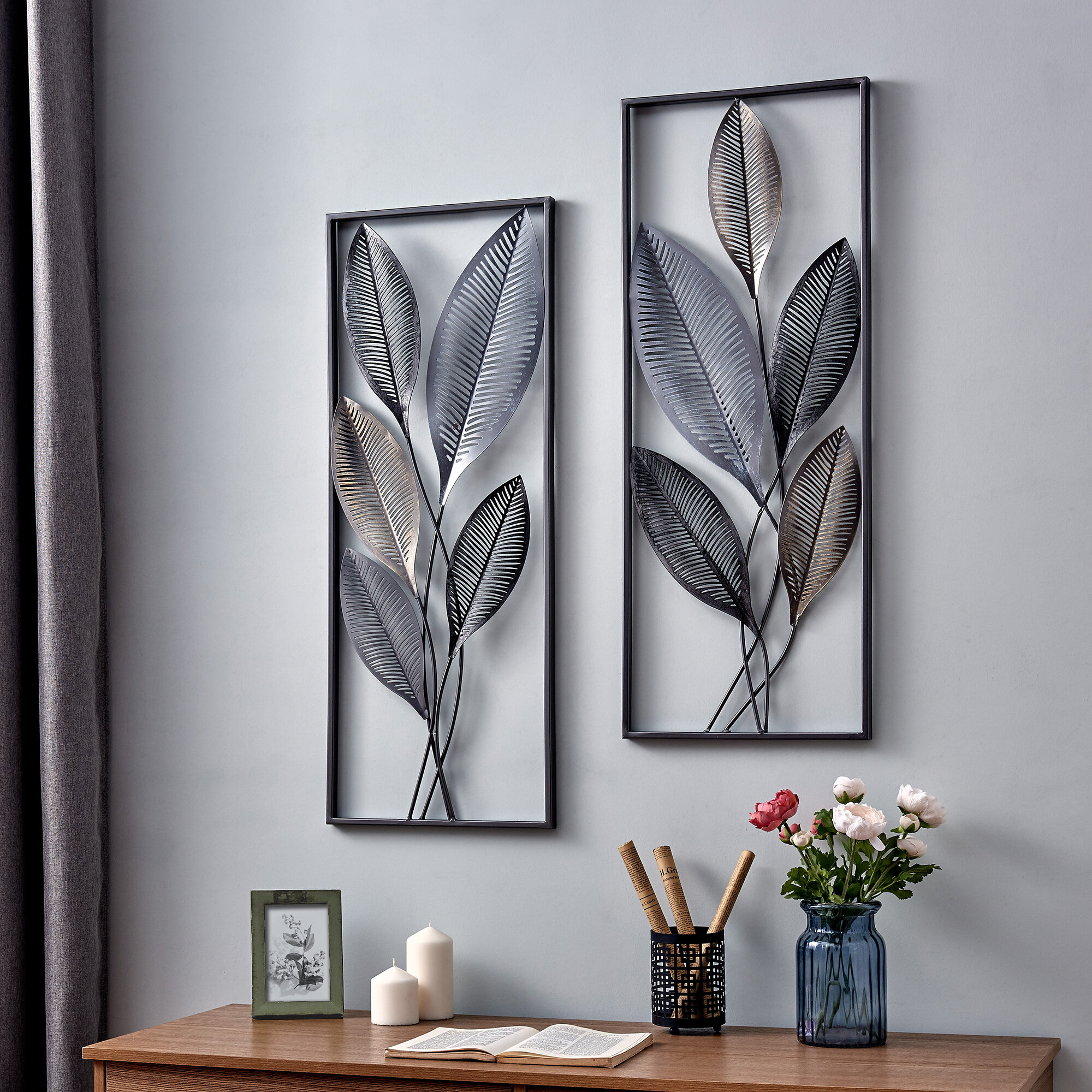 2 Piece Metallic Leaves Wall Décor Set Within Leaves Metal Sculpture Wall Decor By Winston Porter (Gallery 10 of 30)
