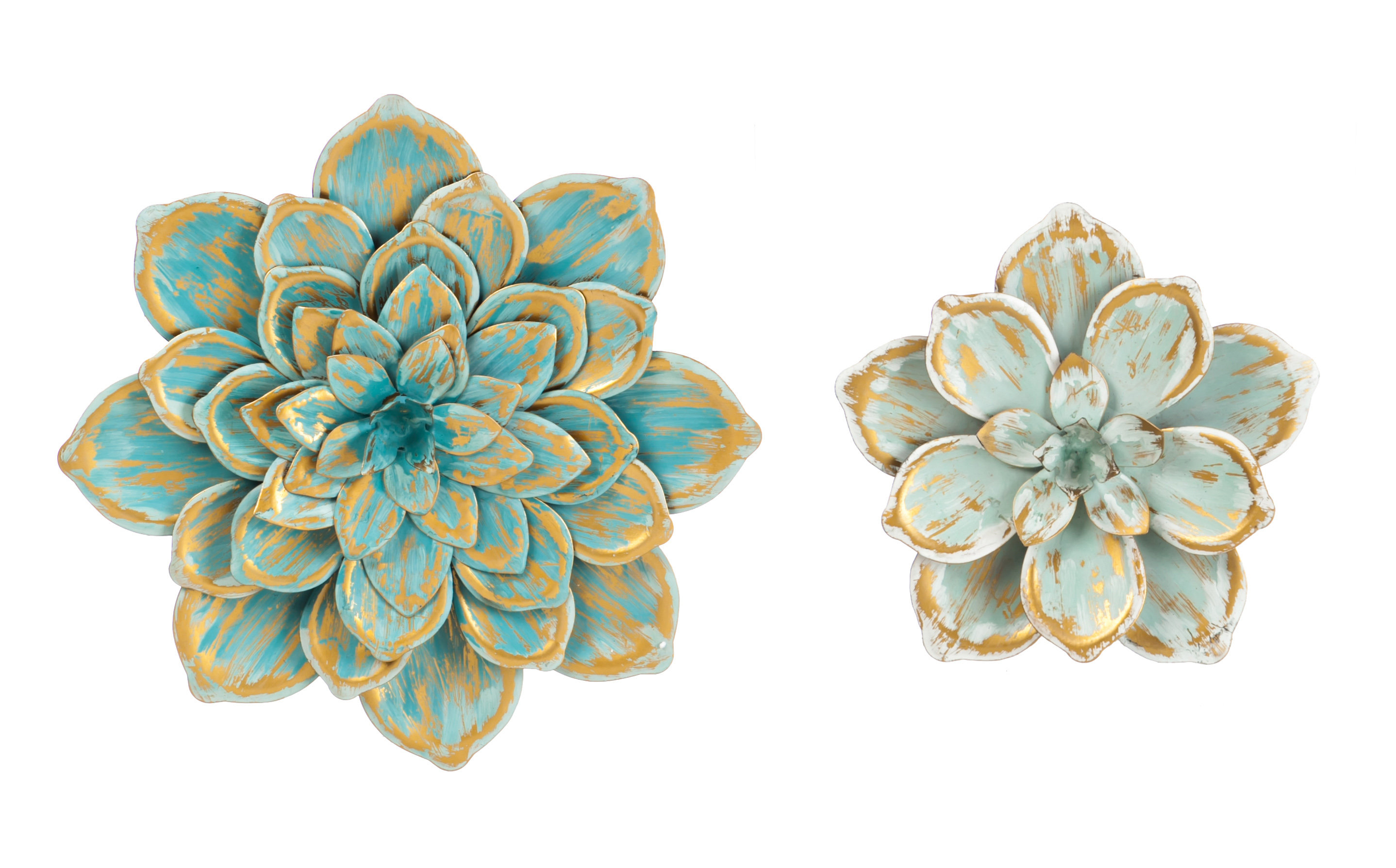 2 Piece Multiple Layer Metal Flower Wall Décor Set In 2 Piece Multiple Layer Metal Flower Wall Decor Sets (Photo 1 of 30)