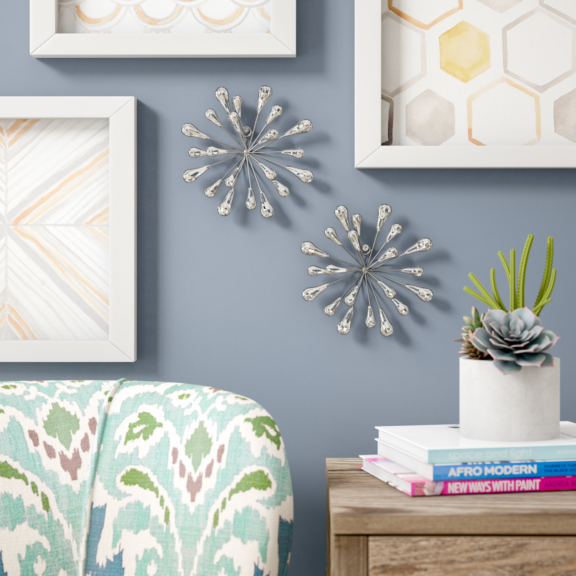 2 Piece Starburst Wall Décor Set Within Set Of 3 Contemporary 6, 9, And 11 Inch Gold Tin Starburst Sculptures (View 19 of 30)