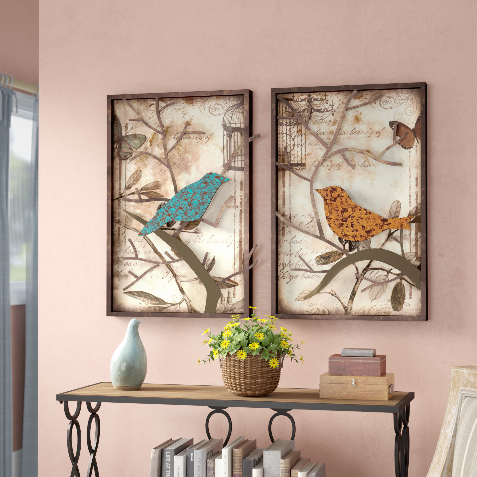 2 Piece Vintage Bird Wall Décor Set Within Rioux Birds On A Wire Wall Decor (Photo 19 of 30)
