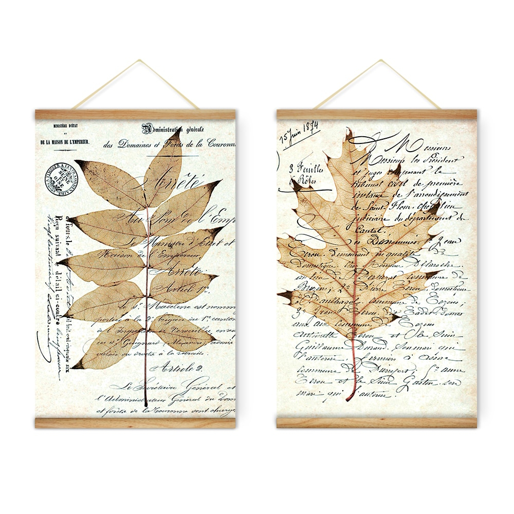 2 Pieces Retro Leaf Stamp Letters Decoration Wall Art For Scroll Leaf Wall Decor (View 2 of 30)
