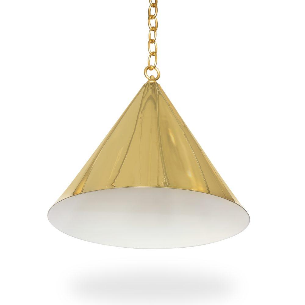"""20"""" Cone Light   Brass   Ann Morris   Custom Lighting For Moris 1 Light Cone Pendants (Photo 22 of 30)"""