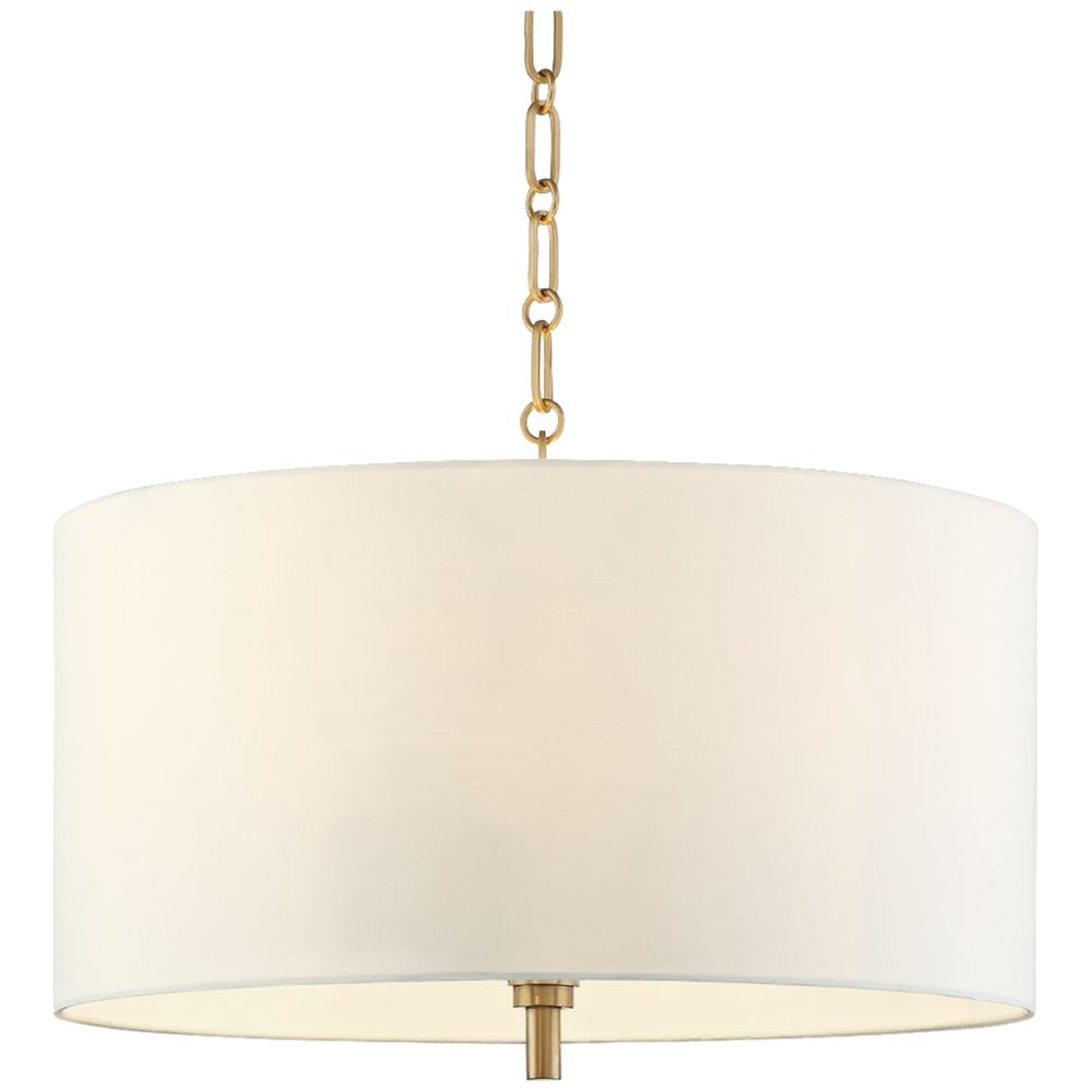 "20"" Wide Warm Gold Pendant Light With White Shade – Style Pertaining To Jill 4 Light Drum Chandeliers (Gallery 18 of 30)"