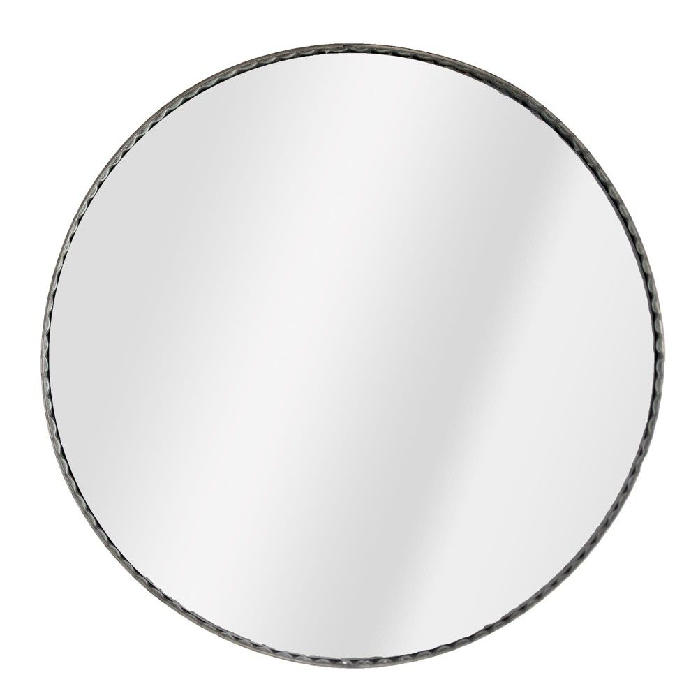"21.65""x1.57""x21.65"" Galvanized Metal Round Wall Mirror Gray Inside Round Galvanized Metallic Wall Mirrors (Gallery 15 of 30)"
