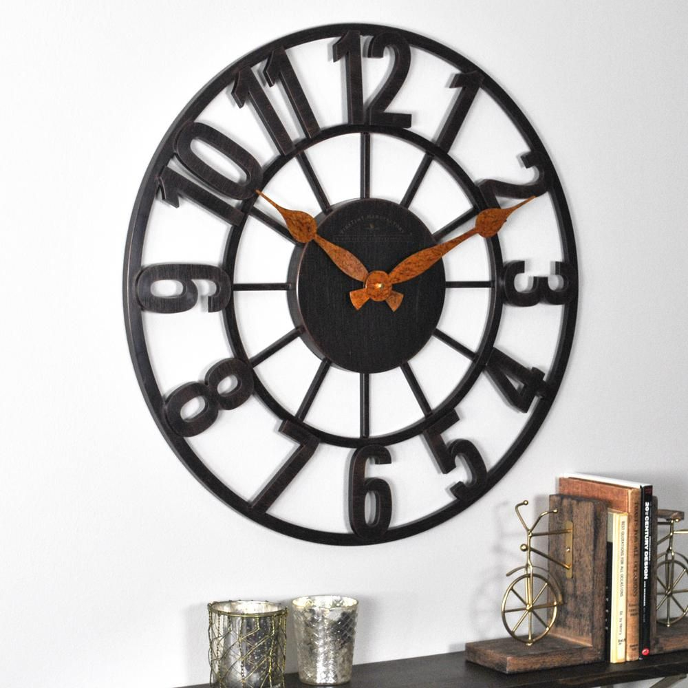 "24 "" Firstime Manchester Oil Rubbed Bronze Wall Clock 40166 Intended For Oil Rubbed Metal Wall Decor (Photo 27 of 30)"