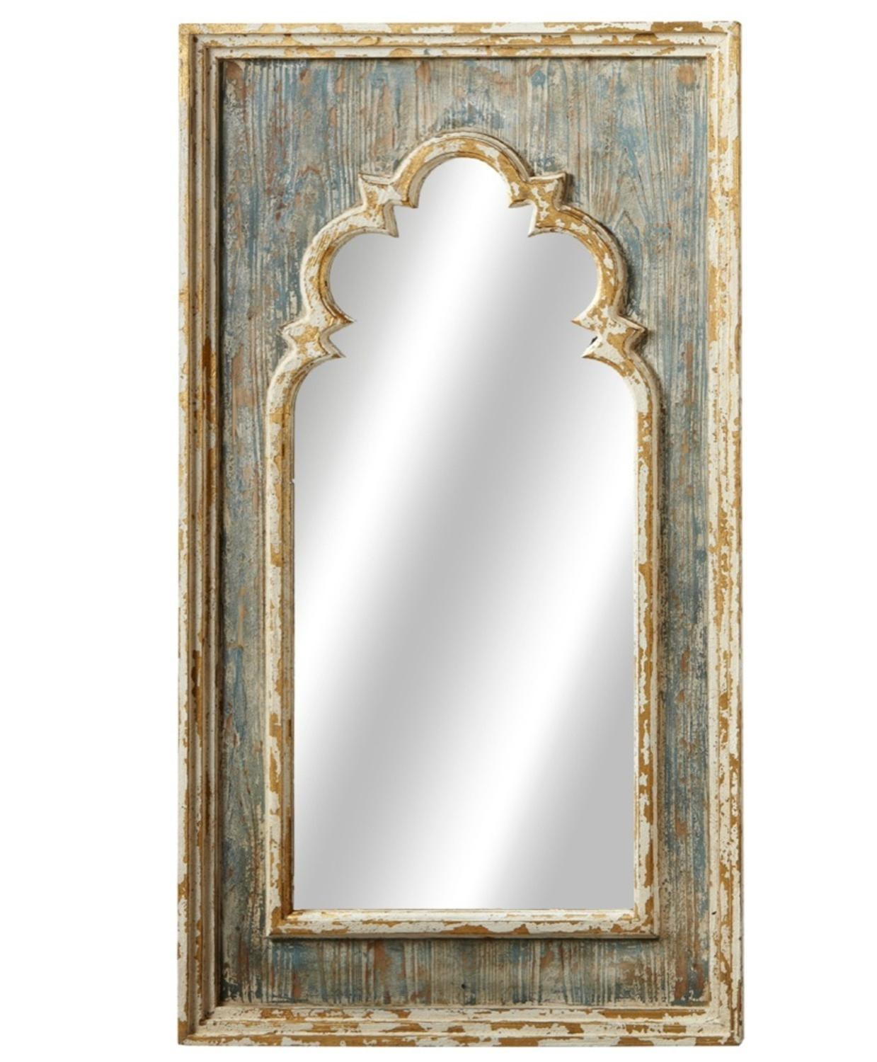 "24"" French Style Rustic Distressed Finished Blue Arch Wall Mirror With Gold Brush Pertaining To Gold Arch Wall Mirrors (View 1 of 30)"