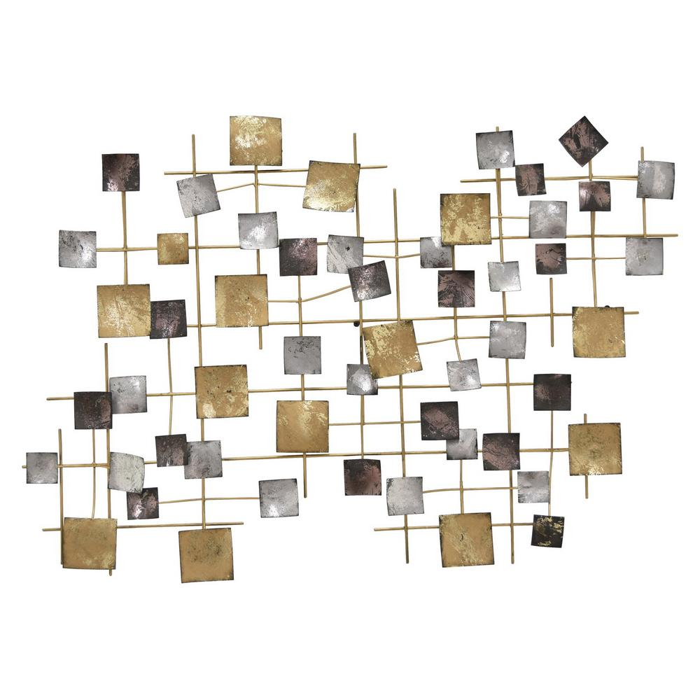 24 In. Multicolor Geometric Neutral Metal Wall Decor With Regard To Contemporary Geometric Wall Decor (Gallery 22 of 30)