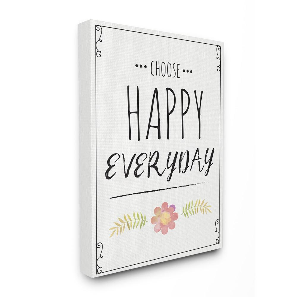 "24 In. X 30 In. ""choose Happy Everyday Pink Flower Black And White Wood  Look Canvas Wall Art""nd Art intended for Choose Happy Wood Wall Decor (Image 1 of 30)"