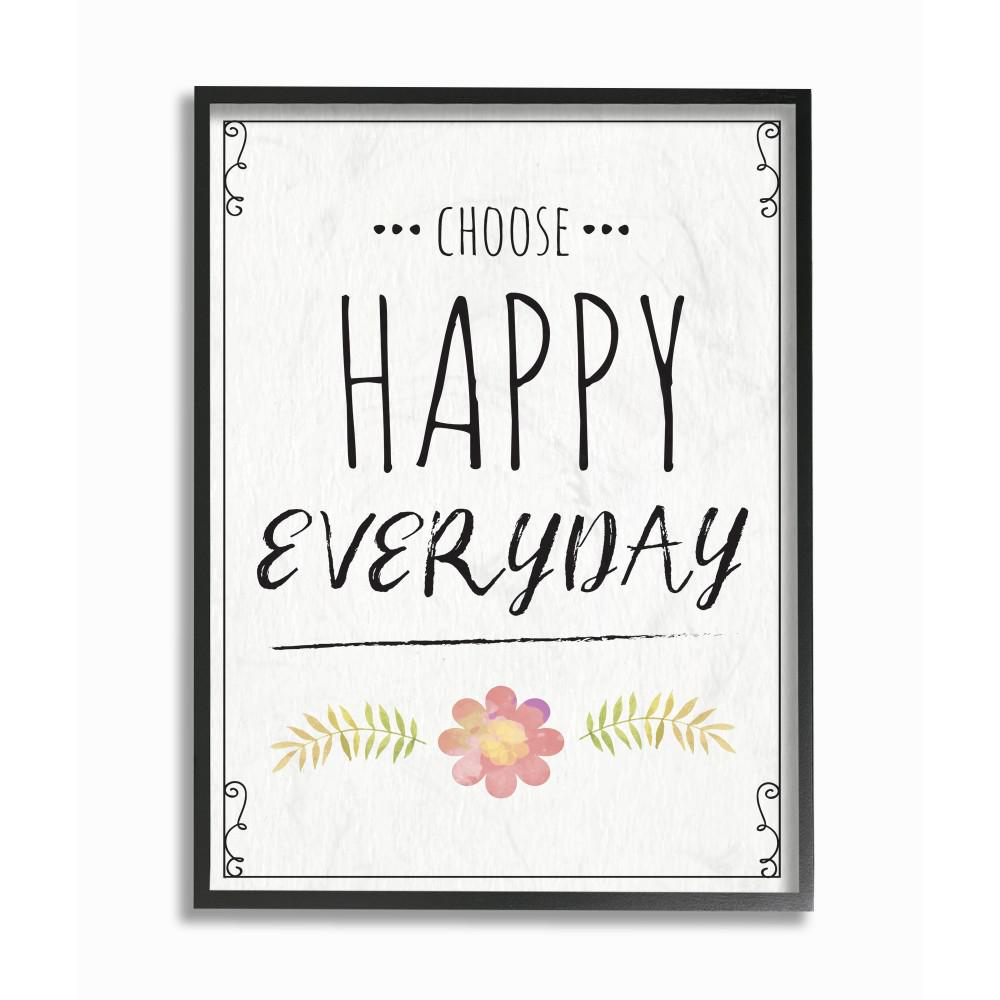 "24 In. X 30 In. ""Choose Happy Everyday Pink Flower Black And White Wood  Look Xxl Black Framed Wall Art""nd Art in Choose Happy Wood Wall Decor (Image 2 of 30)"