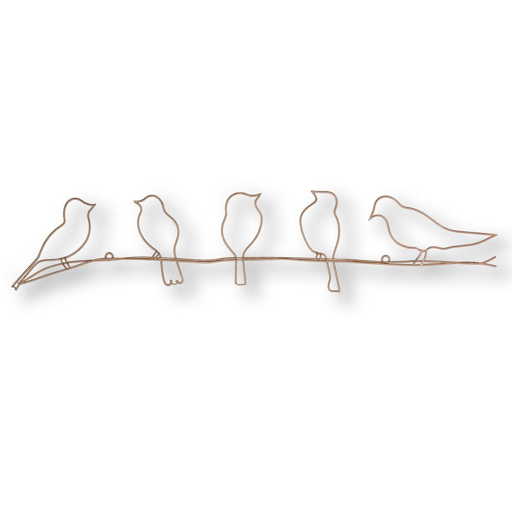 "24 In. X 5 In. ""soft Rose Gold Bird On A Wire"" Metal Wall Art Intended For Rioux Birds On A Wire Wall Decor (Photo 4 of 30)"