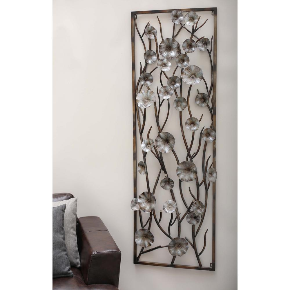 24 In. X 72 In. Modern Brown And Gray Iron Flower And Vine Wall Decor Pertaining To Three Flowers On Vine Wall Decor (Gallery 10 of 30)
