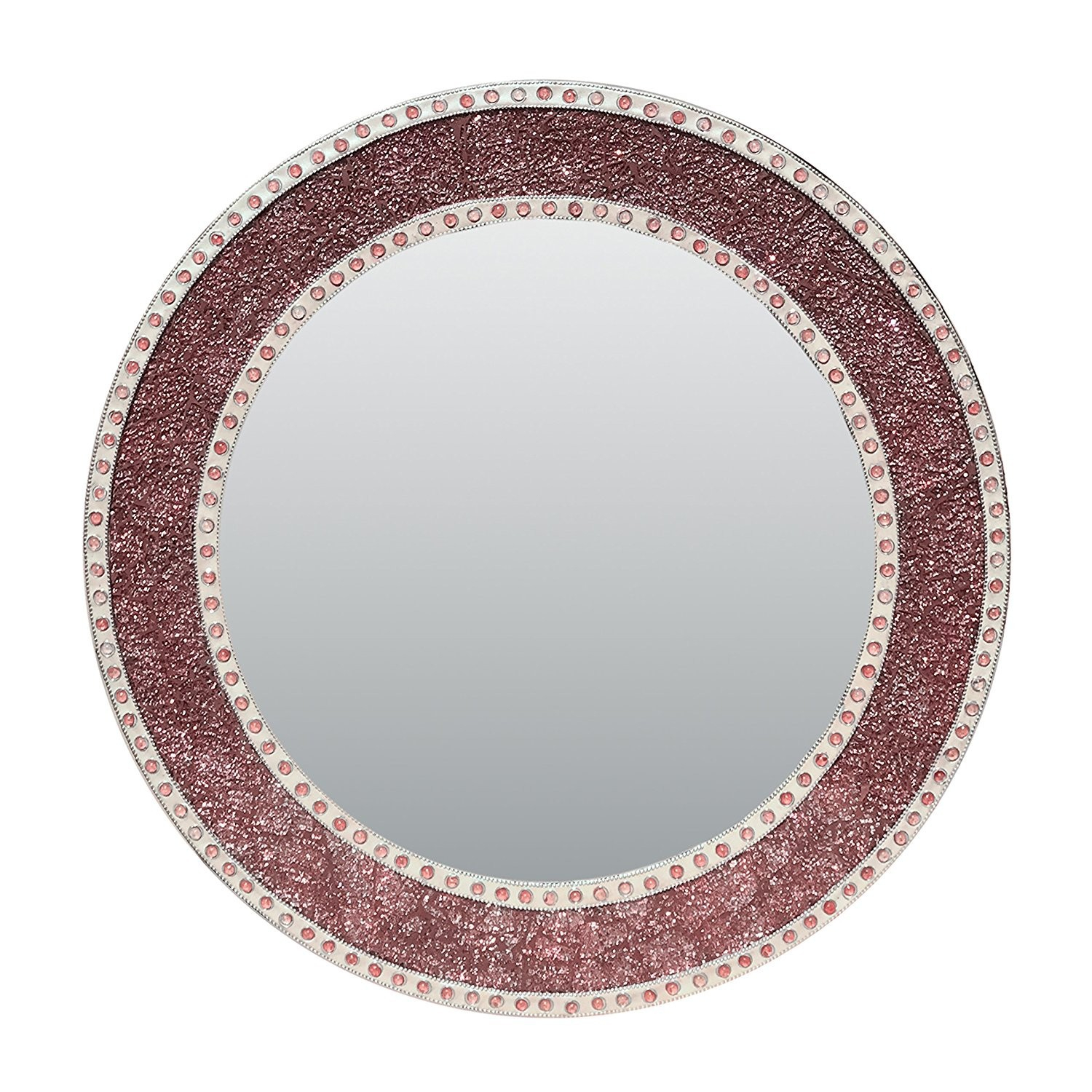 "24"" Rose Gold/blush Framed Round Crackled Glass Mosaic With Regard To Round Eclectic Accent Mirrors (View 10 of 30)"