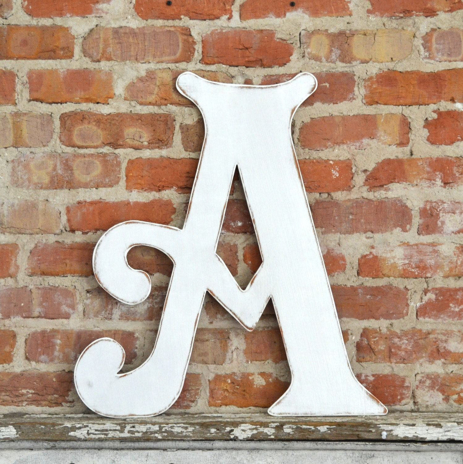 "24"" Wooden Letter A, Distressed White, Elegant Font - All intended for Mccue 11.5"" Typewriter Text Wall Decor (Image 5 of 30)"