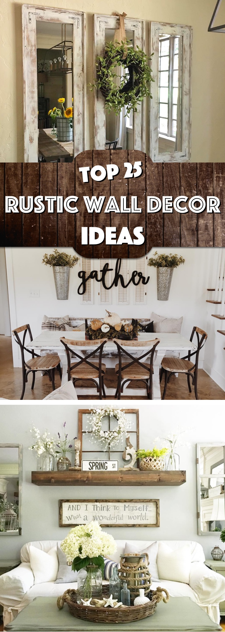 25 Must-Try Rustic Wall Decor Ideas Featuring The Most intended for Wonderful World Wall Decor (Image 1 of 30)
