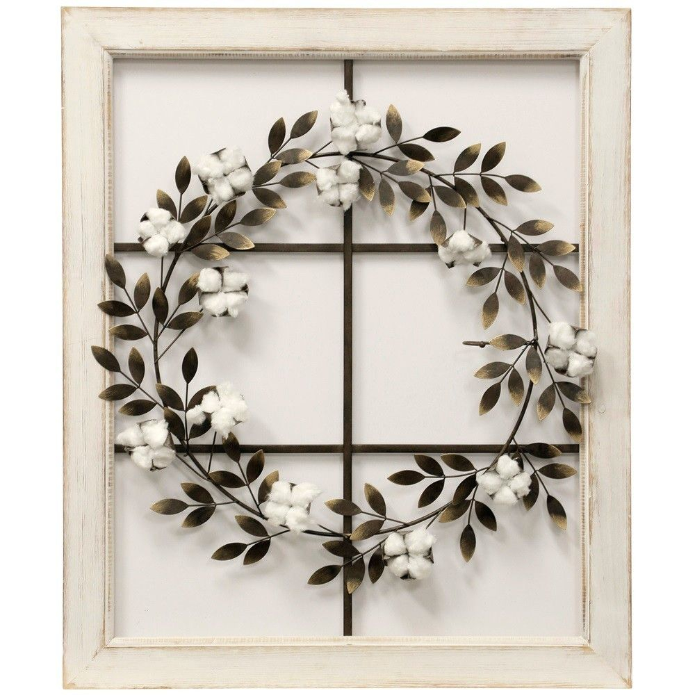 "26.18"" Floral Wreath Wood Framed Wall Art   Stylecraft For Floral Wreath Wood Framed Wall Decor (Photo 3 of 30)"