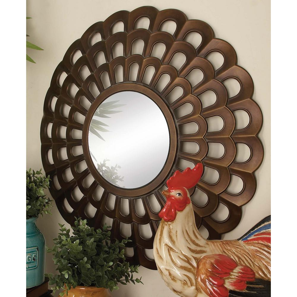 26 In. New Traditional Radiating Scallop Fretwork Framed Wall Mirror In Traditional Metal Wall Mirrors (Photo 20 of 30)