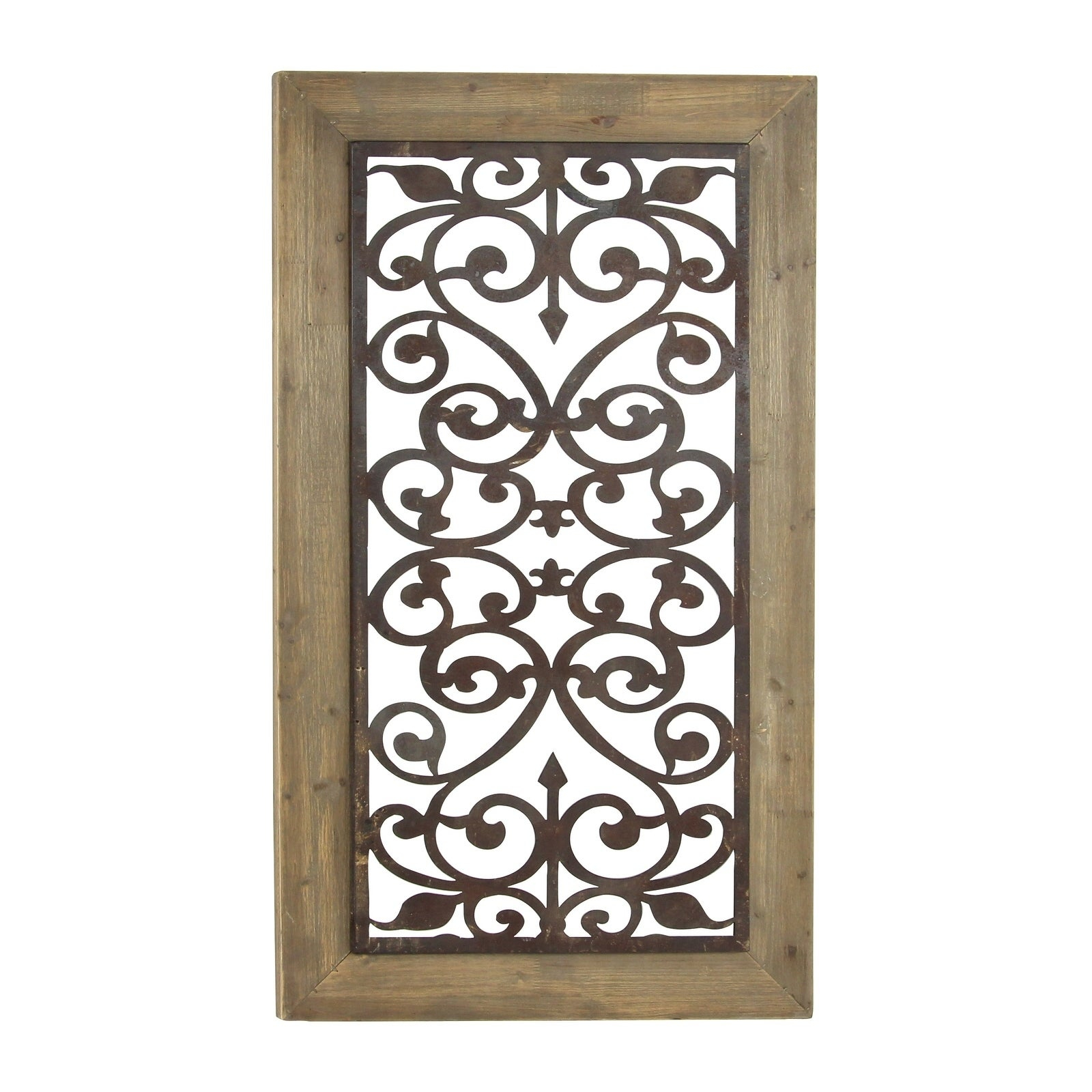 "26"" X 46"" Distressed Wood & Brown Metal Wall Art Panel W/ Scroll Design Studio 35 inside 3 Piece Wall Decor Sets by Wrought Studio (Image 12 of 30)"
