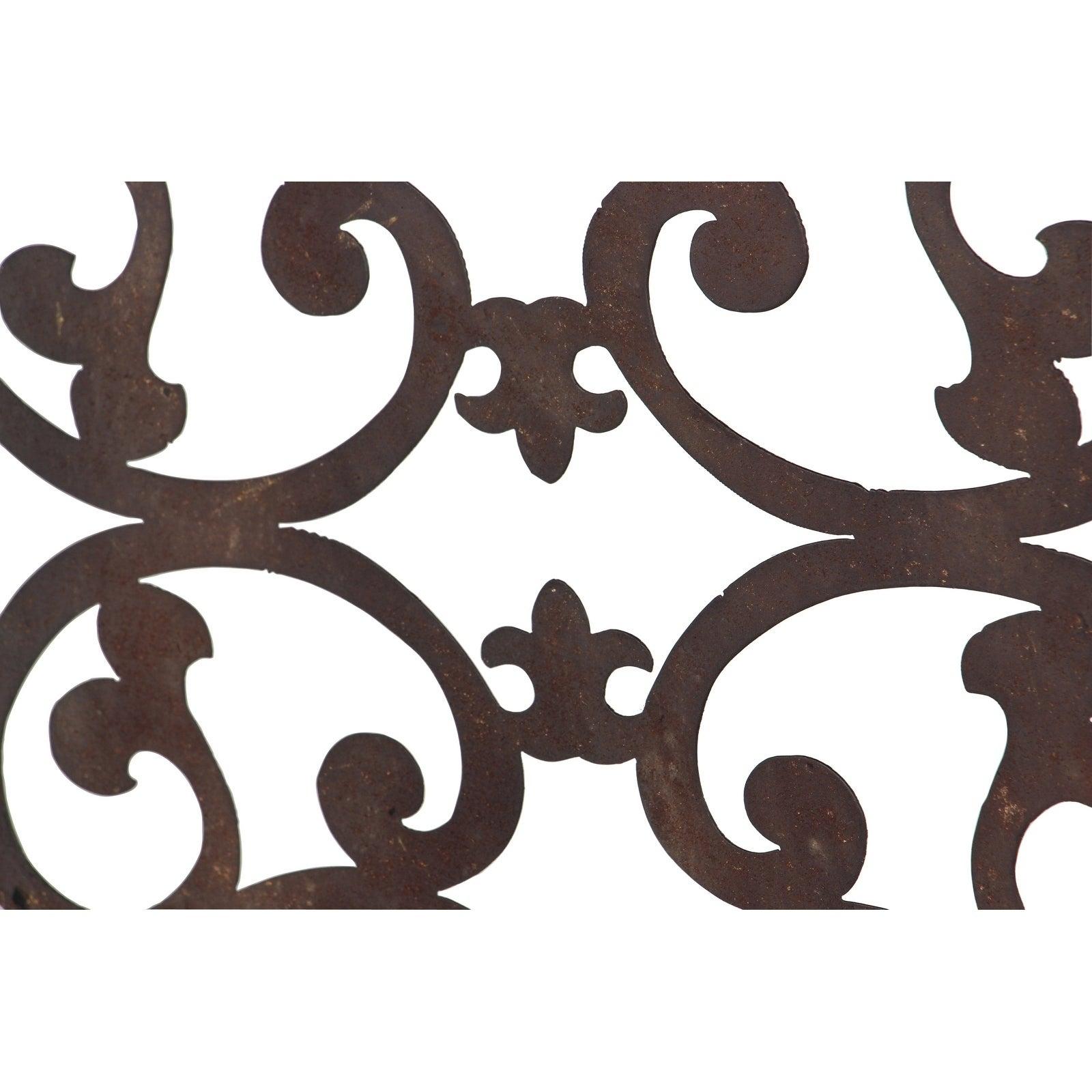 "26"" X 46"" Distressed Wood & Brown Metal Wall Art Panel W/ Scroll Design Studio 35 Inside Ornamental Wood And Metal Scroll Wall Decor (Gallery 22 of 30)"