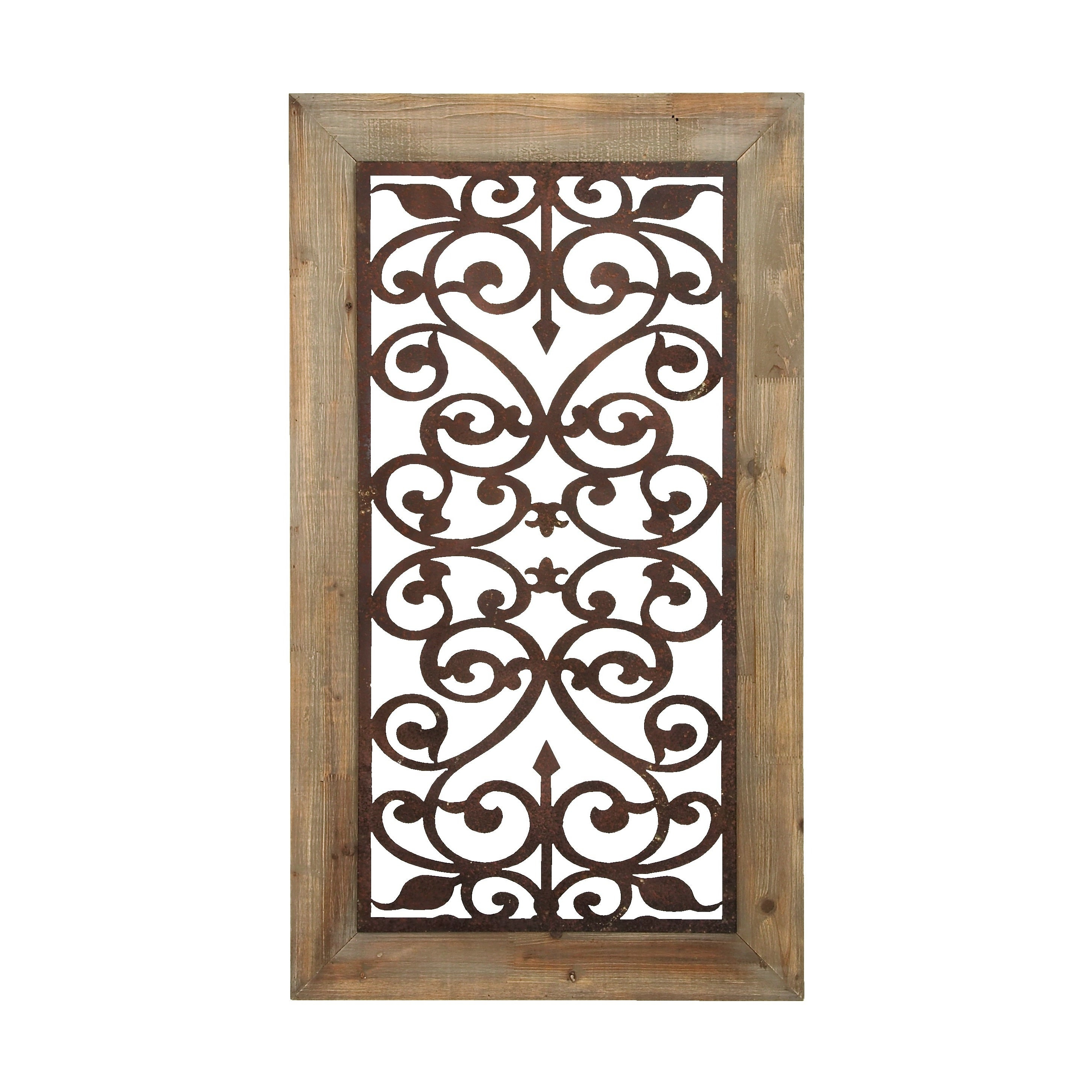 "26"" X 46"" Distressed Wood & Brown Metal Wall Art Panel W/ Scroll Design Studio 35 