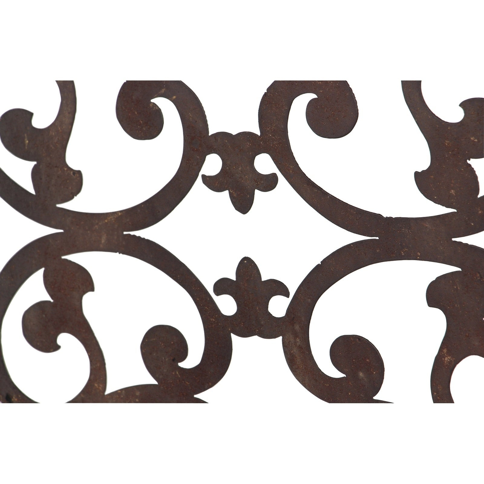 "26"" X 46"" Distressed Wood & Brown Metal Wall Art Panel W/ Scroll Design Studio 35 Within Ornamental Wood And Metal Scroll Wall Decor (Gallery 21 of 30)"