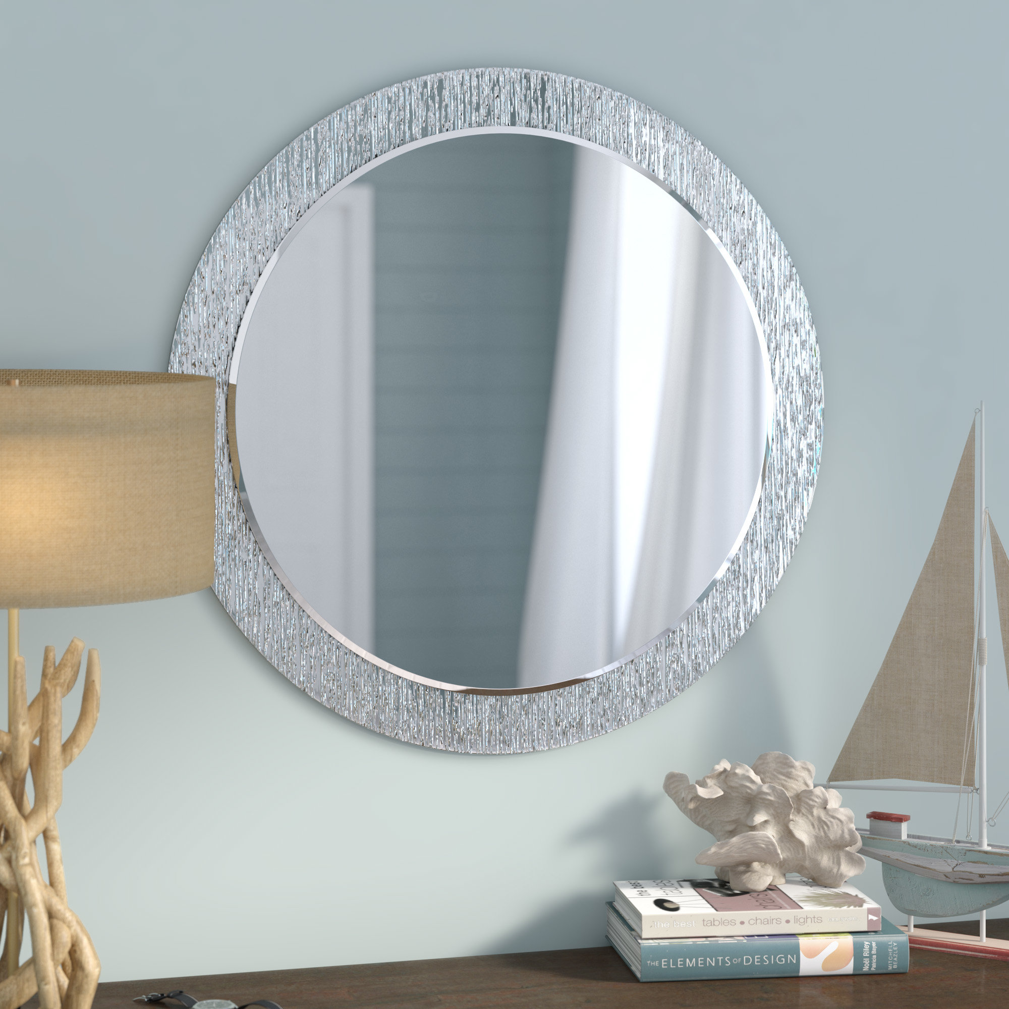 27 Inch Round Mirror | Wayfair in Lidya Frameless Beveled Wall Mirrors (Image 3 of 30)