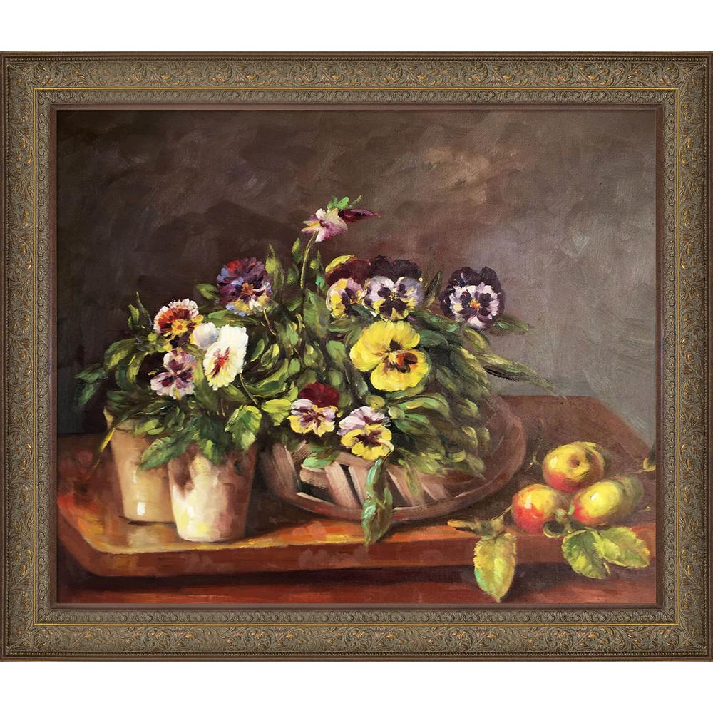 """28 In. X 24 In. """"still Life With Pansies With Victorian Bronze Frame"""" Henri Fantin Latour Framed Wall Art Within Latour Wall Decor (Gallery 5 of 30)"""