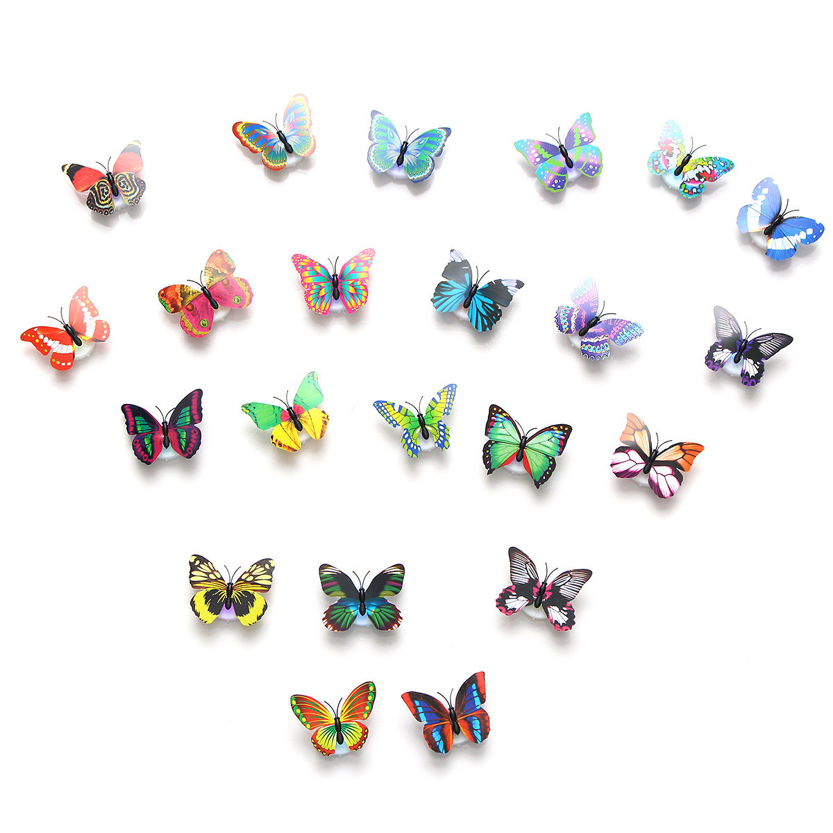 2Pcs Led Glowing 3D Butterfly Night Light Sticker Art Design Mural Home  Wall Decor Intended For 3 Piece Capri Butterfly Wall Decor Sets (Photo 29 of 30)
