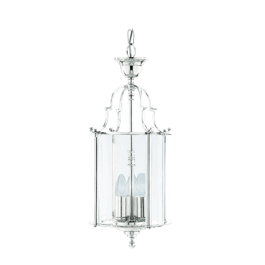 3 Light Ceiling Pendant Chrome, Clear Glass Intended For 3 Light Lantern Cylinder Pendants (View 1 of 30)