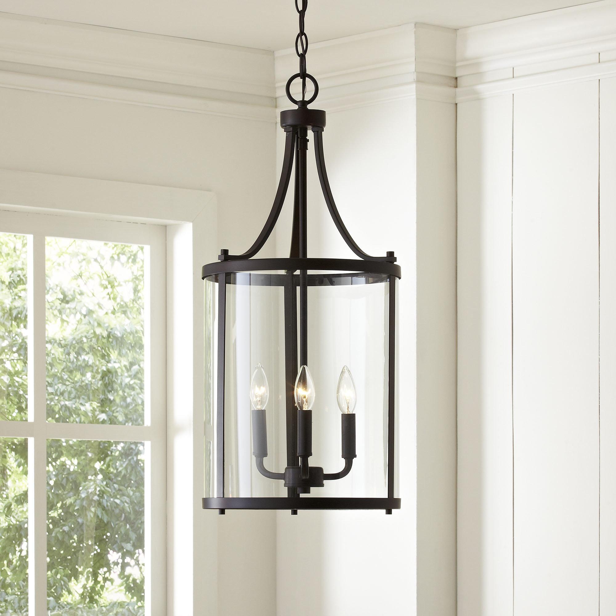 3 Light Lantern Cylinder Pendant Regarding Adcock 3 Light Single Globe Pendants (View 12 of 30)