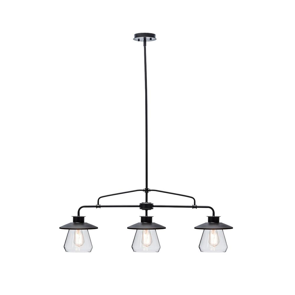 3-Light Oil Rubbed Bronze And Glass Vintage Pendant in Schutt 1-Light Cylinder Pendants (Image 1 of 30)